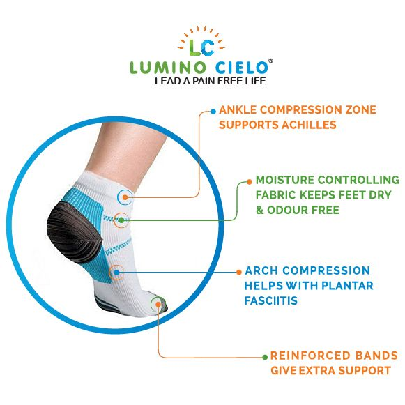 Lumino Cielo Low Cut Compression Socks: Ankle Compression Zones Support Achillis, Arch Compression helps with Plantar Fasciitis, Reinforced band give extra support, Moisture Control fabric keeps feet dry & Odour Free