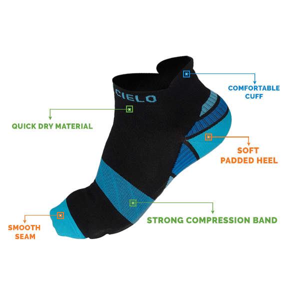 Strong Low Cut Compression Socks for Heel Pain, Ankle Pain, Arch Support, Arch Pain